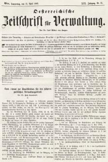 Oesterreichische Zeitschrift für Verwaltung. Jg. 19, 1886, nr15