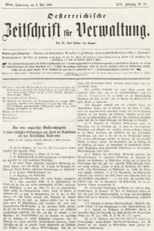 Oesterreichische Zeitschrift für Verwaltung. Jg. 19, 1886, nr18