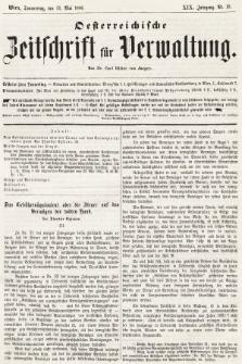 Oesterreichische Zeitschrift für Verwaltung. Jg. 19, 1886, nr19