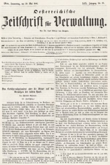 Oesterreichische Zeitschrift für Verwaltung. Jg. 19, 1886, nr20