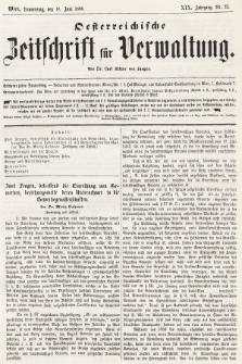 Oesterreichische Zeitschrift für Verwaltung. Jg. 19, 1886, nr23
