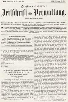 Oesterreichische Zeitschrift für Verwaltung. Jg. 19, 1886, nr25