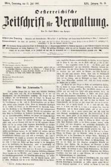 Oesterreichische Zeitschrift für Verwaltung. Jg. 19, 1886, nr28