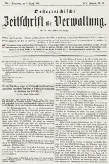 Oesterreichische Zeitschrift für Verwaltung. Jg. 19, 1886, nr31
