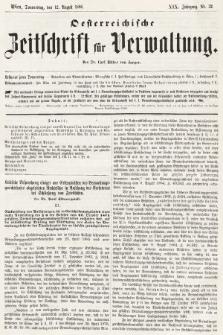 Oesterreichische Zeitschrift für Verwaltung. Jg. 19, 1886, nr32
