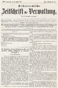 Oesterreichische Zeitschrift für Verwaltung. Jg. 19, 1886, nr34