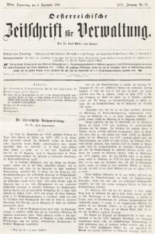 Oesterreichische Zeitschrift für Verwaltung. Jg. 19, 1886, nr35