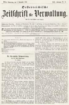 Oesterreichische Zeitschrift für Verwaltung. Jg. 19, 1886, nr36