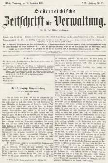 Oesterreichische Zeitschrift für Verwaltung. Jg. 19, 1886, nr37