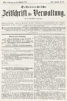 Oesterreichische Zeitschrift für Verwaltung. Jg. 19, 1886, nr38