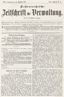 Oesterreichische Zeitschrift für Verwaltung. Jg. 19, 1886, nr39