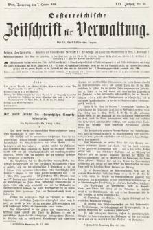 Oesterreichische Zeitschrift für Verwaltung. Jg. 19, 1886, nr40