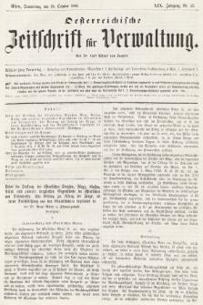 Oesterreichische Zeitschrift für Verwaltung. Jg. 19, 1886, nr43