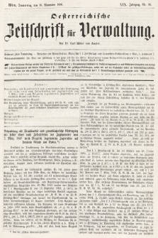 Oesterreichische Zeitschrift für Verwaltung. Jg. 19, 1886, nr46