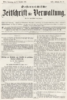 Oesterreichische Zeitschrift für Verwaltung. Jg. 19, 1886, nr50