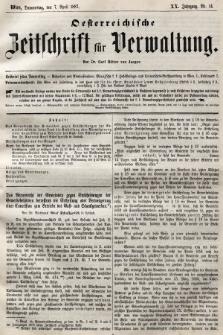 Oesterreichische Zeitschrift für Verwaltung. Jg. 20, 1887, nr14