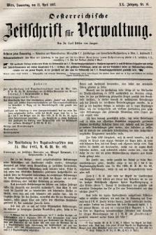 Oesterreichische Zeitschrift für Verwaltung. Jg. 20, 1887, nr16