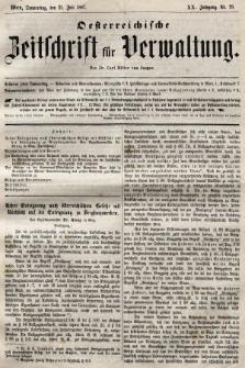 Oesterreichische Zeitschrift für Verwaltung. Jg. 20, 1887, nr29