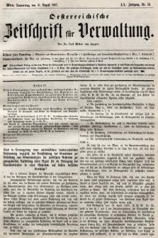 Oesterreichische Zeitschrift für Verwaltung. Jg. 20, 1887, nr33