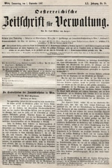 Oesterreichische Zeitschrift für Verwaltung. Jg. 20, 1887, nr35