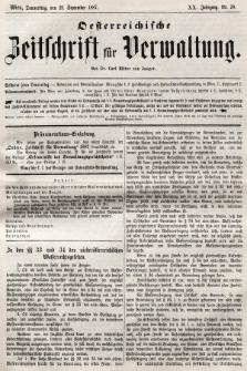 Oesterreichische Zeitschrift für Verwaltung. Jg. 20, 1887, nr38