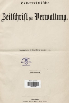 Oesterreichische Zeitschrift für Verwaltung. Jg. 31, 1898, indeksy