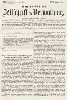 Oesterreichische Zeitschrift für Verwaltung. Jg. 31, 1898, nr29