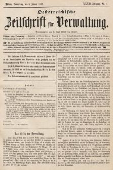 Oesterreichische Zeitschrift für Verwaltung. Jg. 32, 1899, nr1