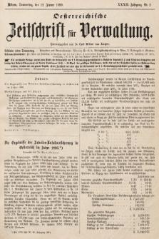 Oesterreichische Zeitschrift für Verwaltung. Jg. 32, 1899, nr2