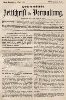Oesterreichische Zeitschrift für Verwaltung. Jg. 32, 1899, nr14