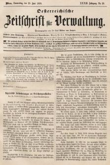 Oesterreichische Zeitschrift für Verwaltung. Jg. 32, 1899, nr26