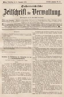 Oesterreichische Zeitschrift für Verwaltung. Jg. 32, 1899, nr38