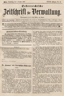 Oesterreichische Zeitschrift für Verwaltung. Jg. 32, 1899, nr40