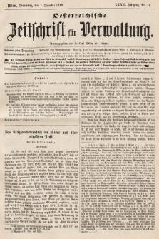 Oesterreichische Zeitschrift für Verwaltung. Jg. 32, 1899, nr49