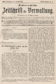 Oesterreichische Zeitschrift für Verwaltung. Jg. 32, 1899, nr50