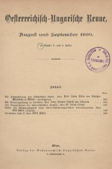 Oesterreichisch-Ungarische Revue. Jg. [5], 1890, Bd. 9, Heft5 und 6