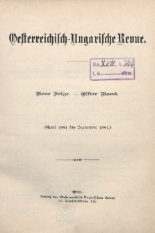 Oesterreichisch-Ungarische Revue. Jg. [6], 1891, Bd. 11, Spis zawartości tomu