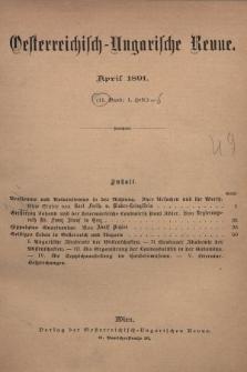 Oesterreichisch-Ungarische Revue. Jg. [6], 1891, Bd. 11, Heft1