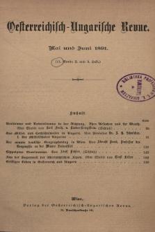 Oesterreichisch-Ungarische Revue. Jg. [6], 1891, Bd. 11, Heft2 und 3