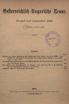 Oesterreichisch-Ungarische Revue. Jg. [6], 1891, Bd. 11, Heft5 und 6