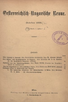 Oesterreichisch-Ungarische Revue. Jg. [6], 1891, Bd. 12, Heft1