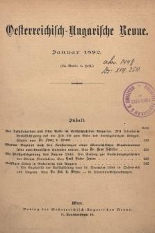 Oesterreichisch-Ungarische Revue. Jg. [6], 1892, Bd. 12, Heft4