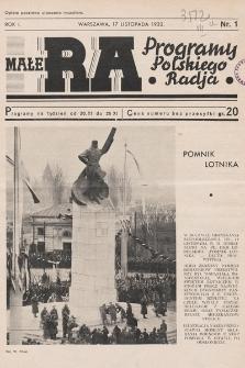 Małe RA : programy Polskiego Radja. R.1. 1932, nr1