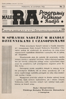 Małe RA : programy Polskiego Radja. R.1. 1932, nr2