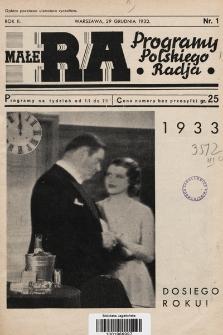 Małe RA : programy Polskiego Radja. R.2. 1932, nr1