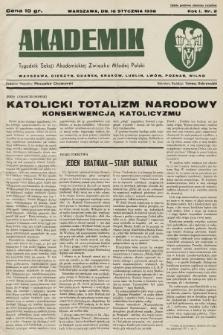 Akademik : tygodnik Sekcji Akademickiej Związku Młodej Polski. R. 1, 1938, nr2