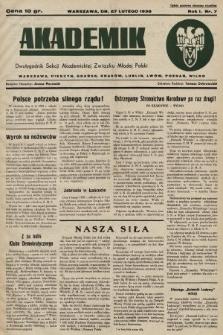 Akademik : dwutygodnik Sekcji Akademickiej Związku Młodej Polski. R. 1, 1938, nr7