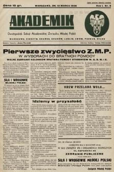 Akademik : dwutygodnik Sekcji Akademickiej Związku Młodej Polski. R. 1, 1937, nr8