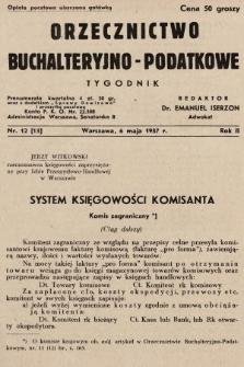 Orzecznictwo Buchalteryjno-Podatkowe : tygodnik. 1937, nr12