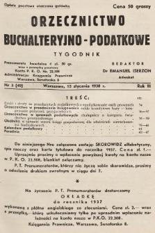 Orzecznictwo Buchalteryjno-Podatkowe : tygodnik. 1938, nr3